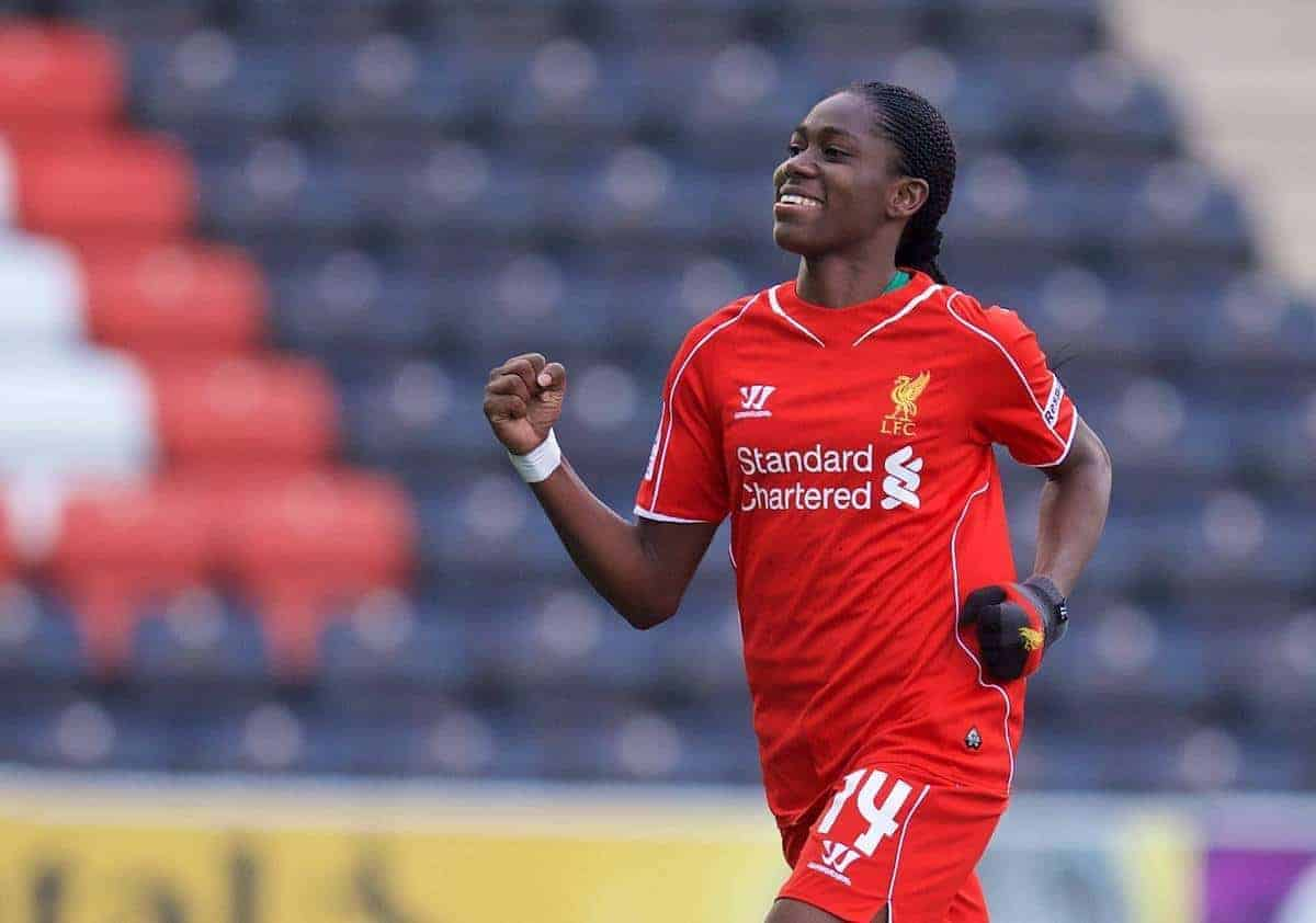 WIDNES, ENGLAND - Sunday, April 26, 2015: Liverpool Ladies' Asisat Oshoala celebrates the second goal against Manchester City during the FA Women's Super League match at the Halton Stadium. (Pic by David Rawcliffe/Propaganda)
