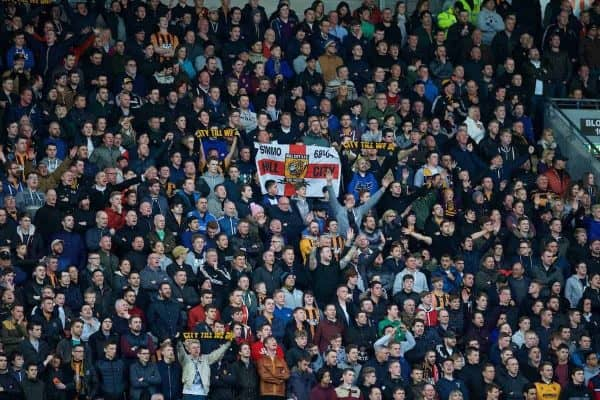 KINGSTON-UPON-HULL, ENGLAND - Tuesday, April 28, 2015: Hull City supporters during the Premier League match against Liverpool at the KC Stadium. (Pic by David Rawcliffe/Propaganda)