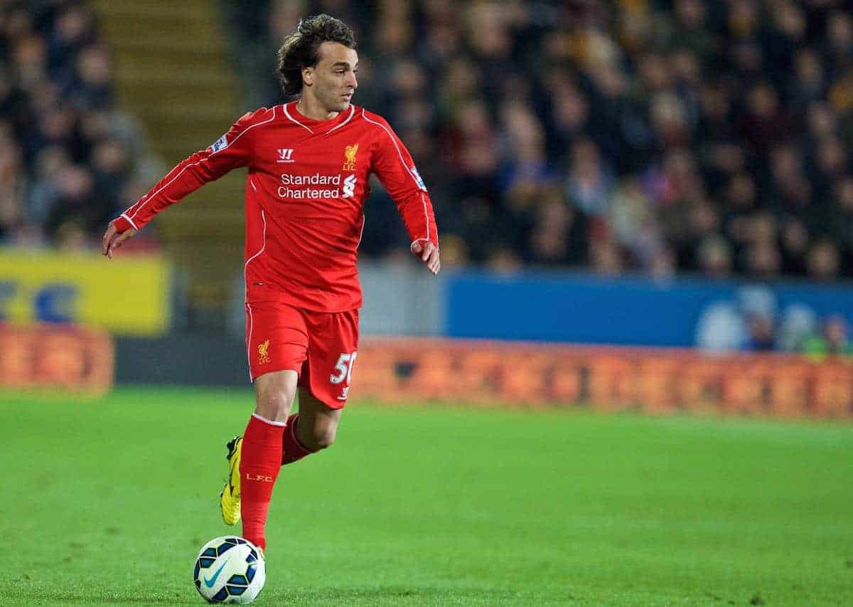 KINGSTON-UPON-HULL, ENGLAND - Tuesday, April 28, 2015: Liverpool's Lazar Markovic in action against Hull City during the Premier League match at the KC Stadium. (Pic by David Rawcliffe/Propaganda)
