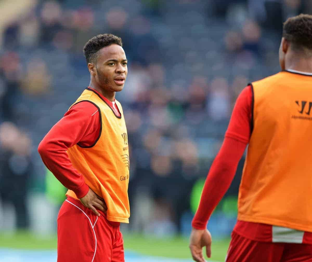 KINGSTON-UPON-HULL, ENGLAND - Tuesday, April 28, 2015: Liverpool's Raheem Sterling before the game against Hull City in the Premier League match at the KC Stadium. (Pic by Gareth Jones/Propaganda)