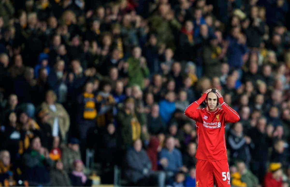 KINGSTON-UPON-HULL, ENGLAND - Tuesday, April 28, 2015: Liverpool's Lazar Markovic against Hull City during the Premier League match at the KC Stadium. (Pic by Gareth Jones/Propaganda)