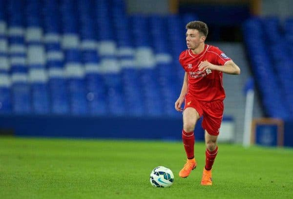 LIVERPOOL, ENGLAND - Thursday, April 30, 2015: Liverpool's Joe Maguire in action against Everton during the Under 21 FA Premier League match at Goodison Park. (Pic by David Rawcliffe/Propaganda)