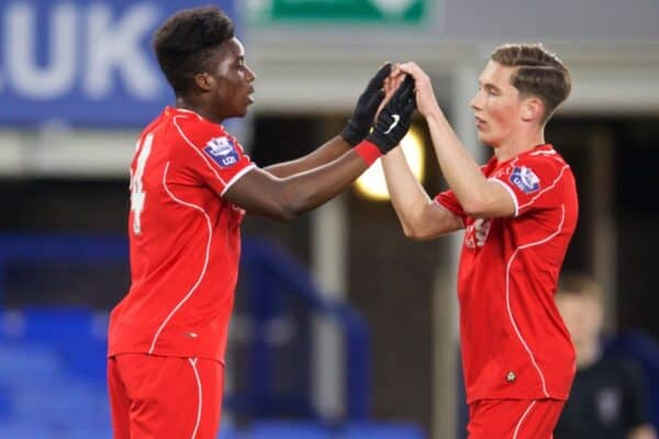 LIVERPOOL, ENGLAND - Thursday, April 30, 2015: Liverpool's Sheyi Ojo celebrates scoring the third goal against Everton with team-mate Harry Wilson during the Under 21 FA Premier League match at Goodison Park. (Pic by David Rawcliffe/Propaganda)