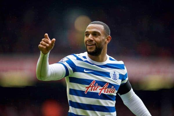 LIVERPOOL, ENGLAND - Saturday, May 2, 2015: Queens Park Rangers' Matt Phillips in action against Liverpool during the Premier League match at Anfield. (Pic by David Rawcliffe/Propaganda)
