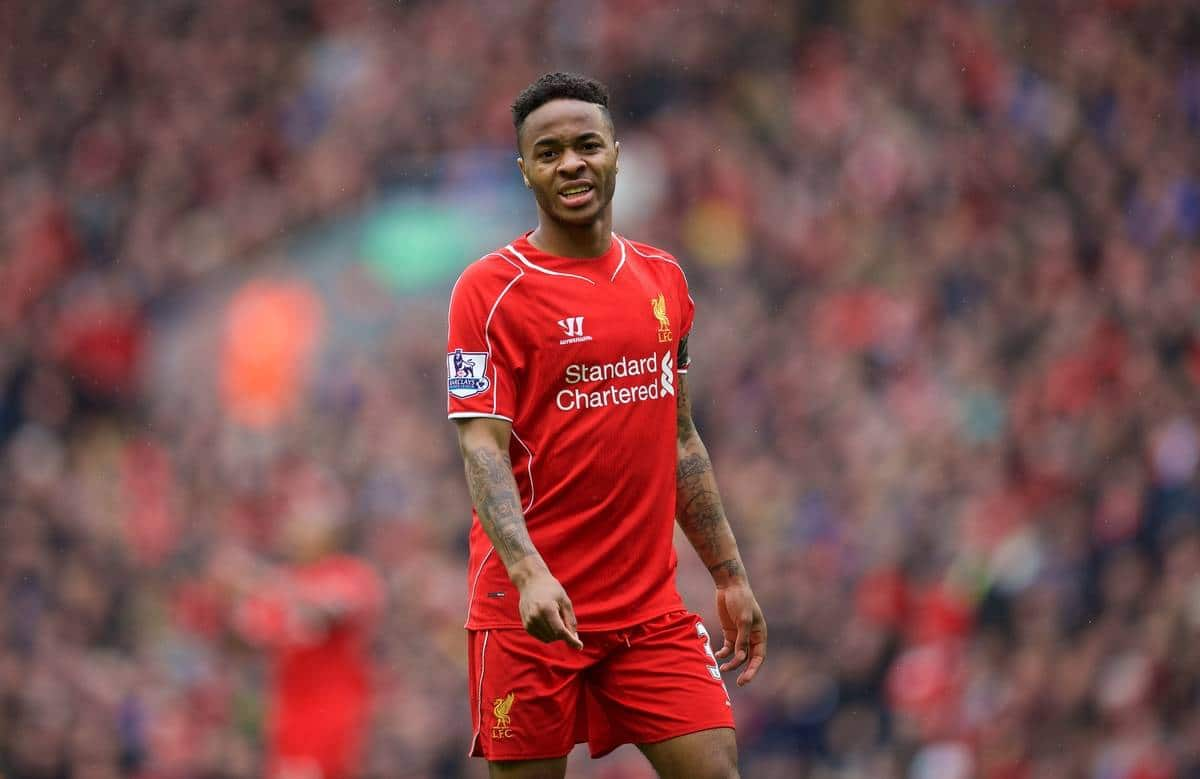 LIVERPOOL, ENGLAND - Saturday, May 2, 2015: Liverpool's Raheem Sterling in action against Queens Park Rangers during the Premier League match at Anfield. (Pic by David Rawcliffe/Propaganda)