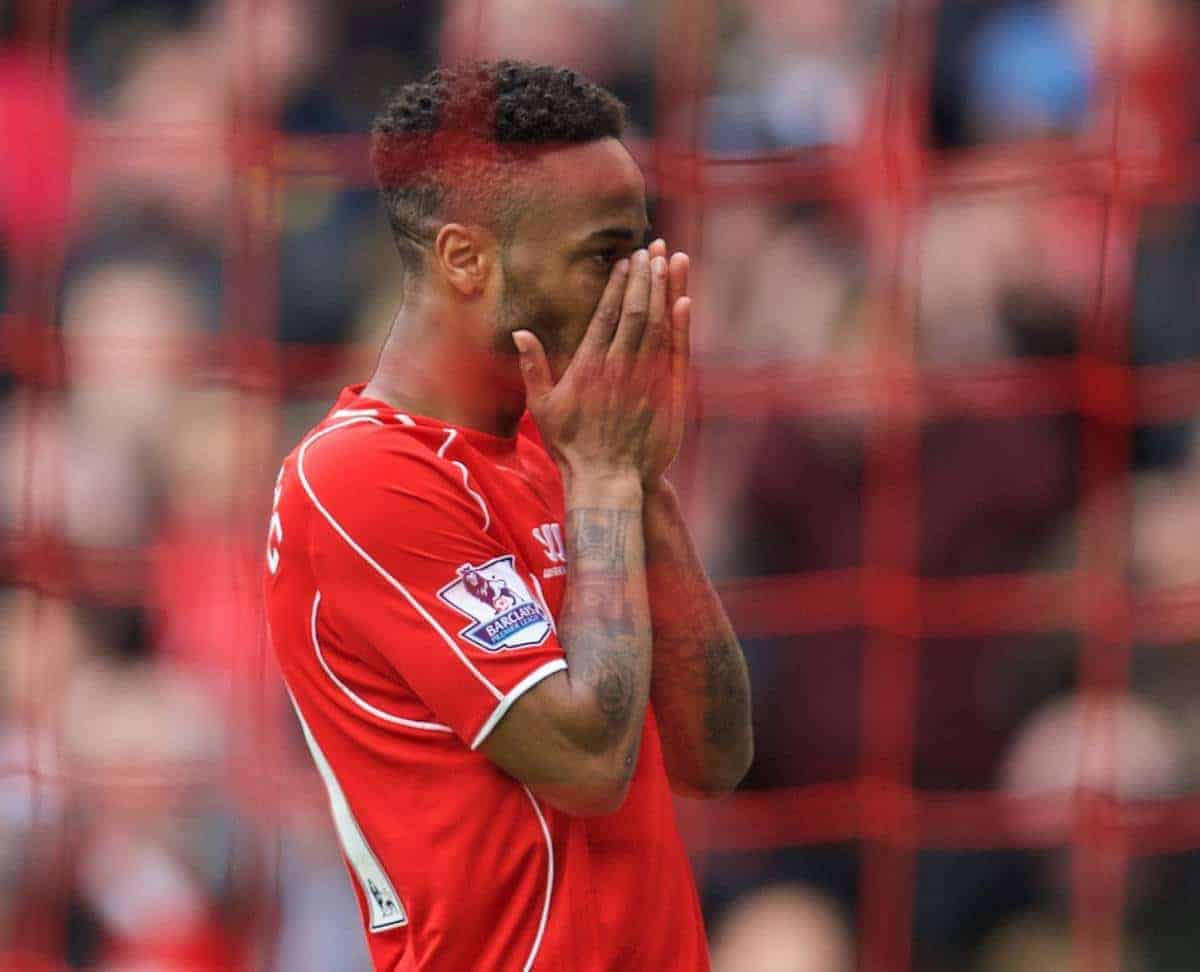 LIVERPOOL, ENGLAND - Saturday, May 2, 2015: Liverpool's Raheem Sterling looks dejected after missing a chance against Queens Park Rangers during the Premier League match at Anfield. (Pic by David Rawcliffe/Propaganda)