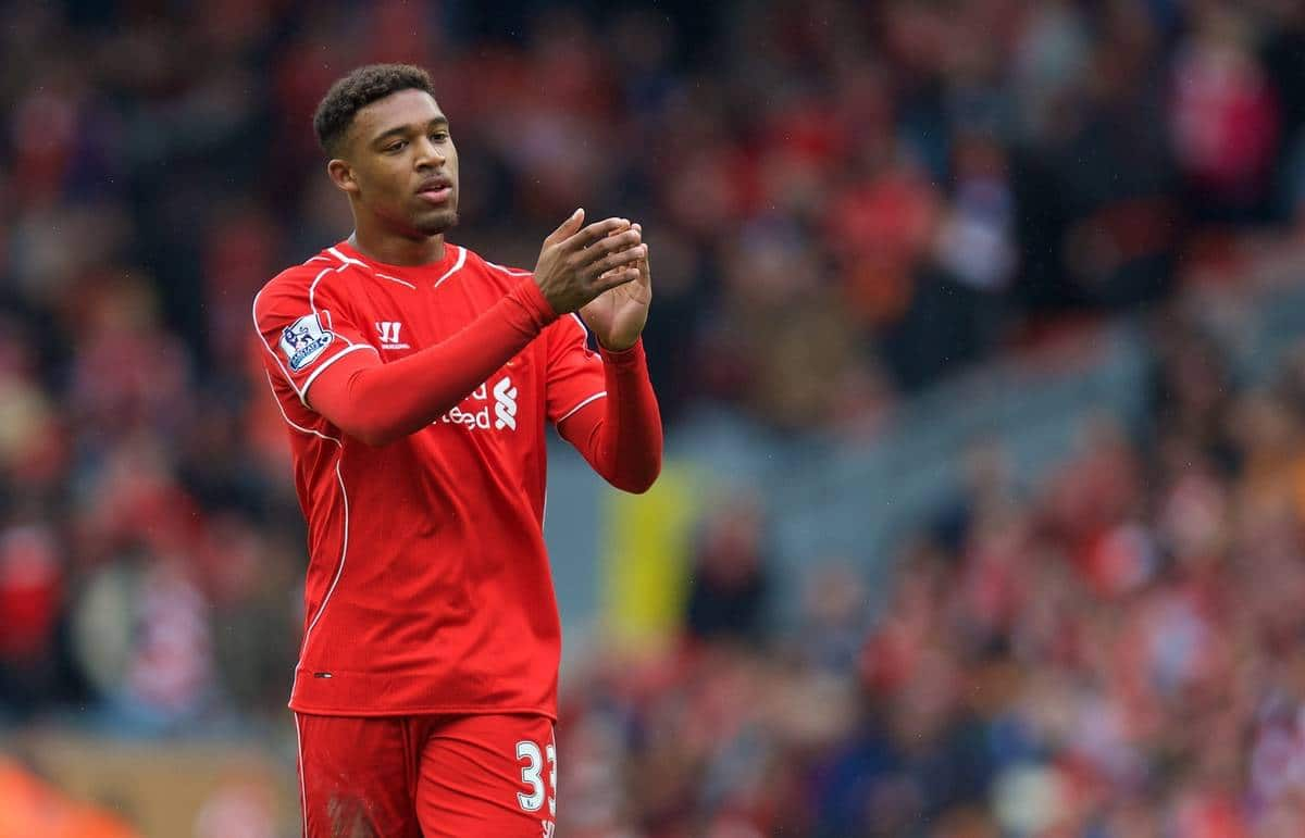 LIVERPOOL, ENGLAND - Saturday, May 2, 2015: Liverpool's Jordon Ibe applauds the supporters after the 2-1 victory over Queens Park Rangers during the Premier League match at Anfield. (Pic by David Rawcliffe/Propaganda)