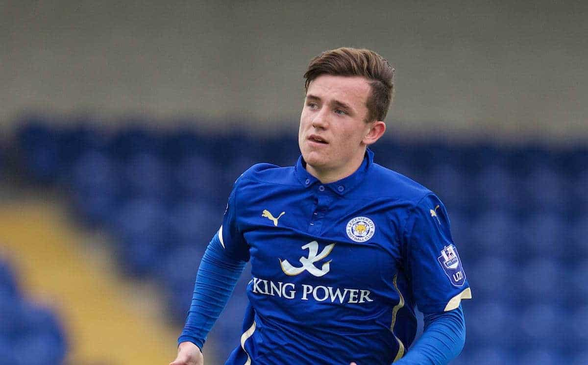CHESTER, WALES - Monday, May 4, 2015: Leicester City's Ben Chilwell in action against Liverpool during the Under 21 FA Premier League match at the Deva Stadium. (Pic by David Rawcliffe/Propaganda)
