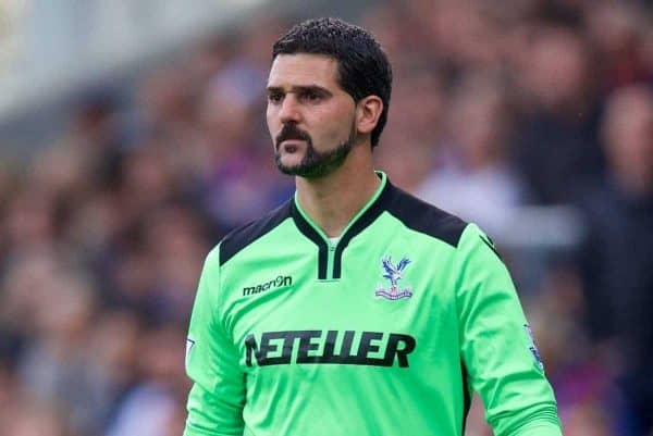 LONDON, ENGLAND - Saturday, May 9, 2015: Crystal Palace's goalkeeper Julian Speroni in action against Manchester United during the Premier League match at Selhurst Park. (Pic by David Rawcliffe/Propaganda)