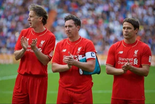 Liverpool's Steve McManaman, captain Robbie Fowler and Michael Owen line-up before the Corazon Classic Legends Friendly match against Real Madrid at the Estadio Santiago Bernabeu. (Pic by David Rawcliffe/Propaganda)