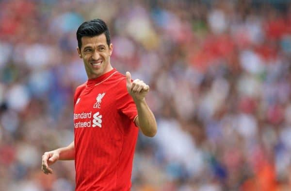 MADRIS, SPAIN - Sunday, June 14, 2015: Liverpool's Luis Garcia in action against Real Madrid during the Corazon Classic Legends Friendly match at the Estadio Santiago Bernabeu. (Pic by David Rawcliffe/Propaganda)