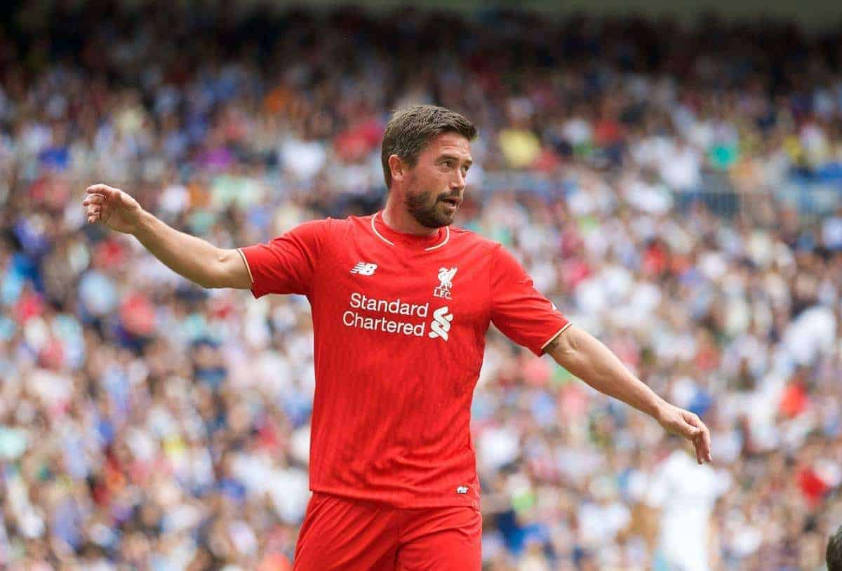MADRIS, SPAIN - Sunday, June 14, 2015: Liverpool's Harry Kewell celebrates scoring the first goal against Real Madrid during the Corazon Classic Legends Friendly match at the Estadio Santiago Bernabeu. (Pic by David Rawcliffe/Propaganda)
