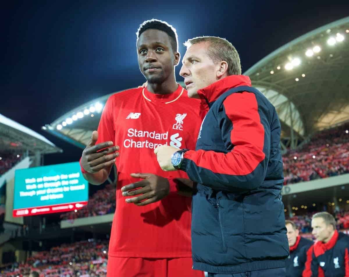 ADELAIDE, AUSTRALIA - Monday, July 20, 2015: Liverpool's manager Brendan Rodgers gives last minute instructions to Divock Origi before a preseason friendly match against Adelaide United at the Adelaide Oval on day eight of the club's preseason tour. (Pic by David Rawcliffe/Propaganda)