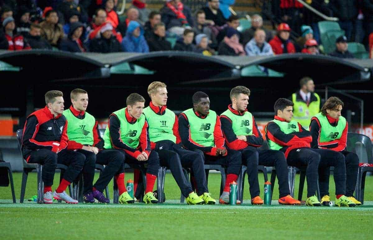 ADELAIDE, AUSTRALIA - Monday, July 20, 2015: Liverpool's substitute bench Ryan Kent, Jordan Rossiter, Harry Wilson, Daniel Cleary, Sheyi Ojo, Joe Maguire, Joao Carlos Teixeira, Lazar Markovic and Pedro Chirivella in action against Adelaide United during a preseason friendly match at the Adelaide Oval on day eight of the club's preseason tour. (Pic by David Rawcliffe/Propaganda)