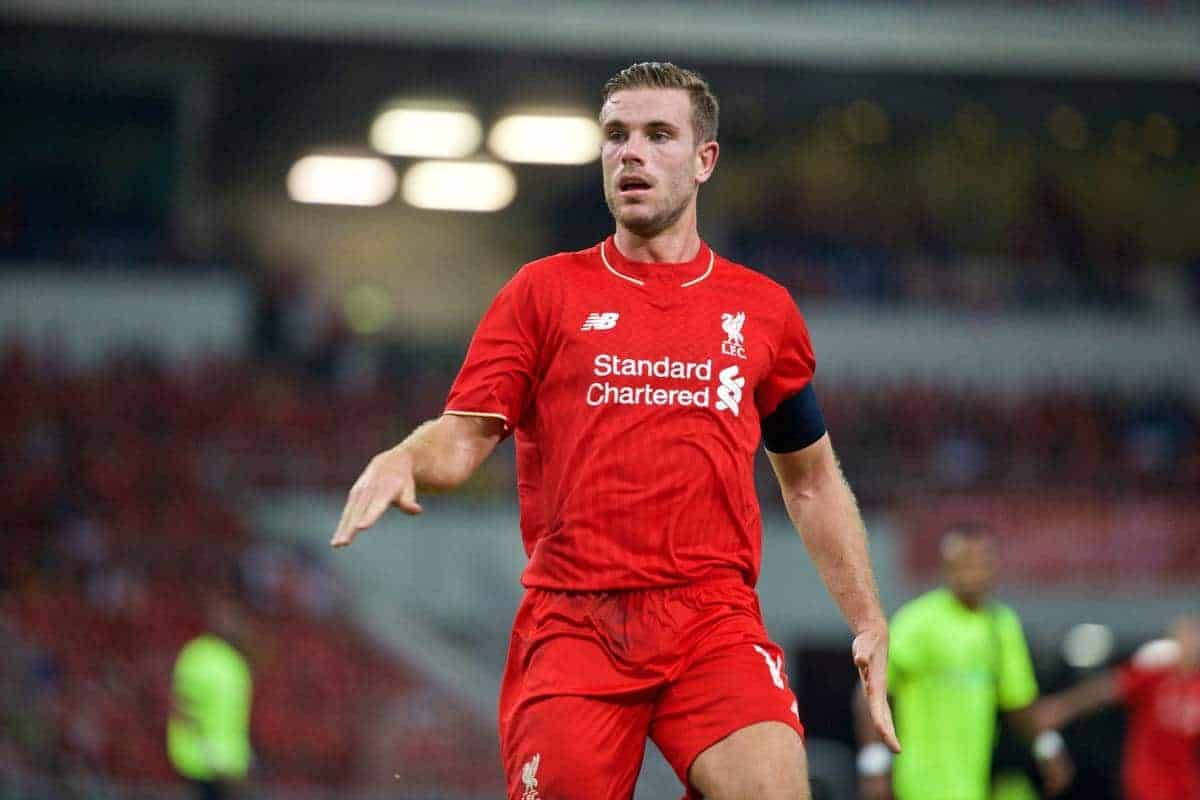 KUALA LUMPUR, MALAYSIA - Friday, July 24, 2015: Liverpool's captain Jordan Henderson in action against a Malaysia XI during a friendly match at the Bukit Jalil National Stadium on day twelve of the club's preseason tour. (Pic by David Rawcliffe/Propaganda)