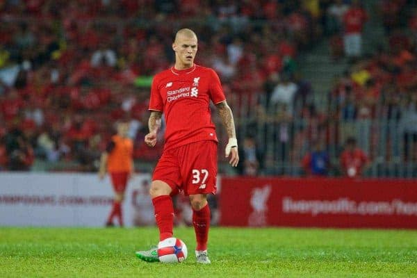 KUALA LUMPUR, MALAYSIA - Friday, July 24, 2015: Liverpool's Martin Skrtel in action against a Malaysia XI during a friendly match at the Bukit Jalil National Stadium on day twelve of the club's preseason tour. (Pic by David Rawcliffe/Propaganda)