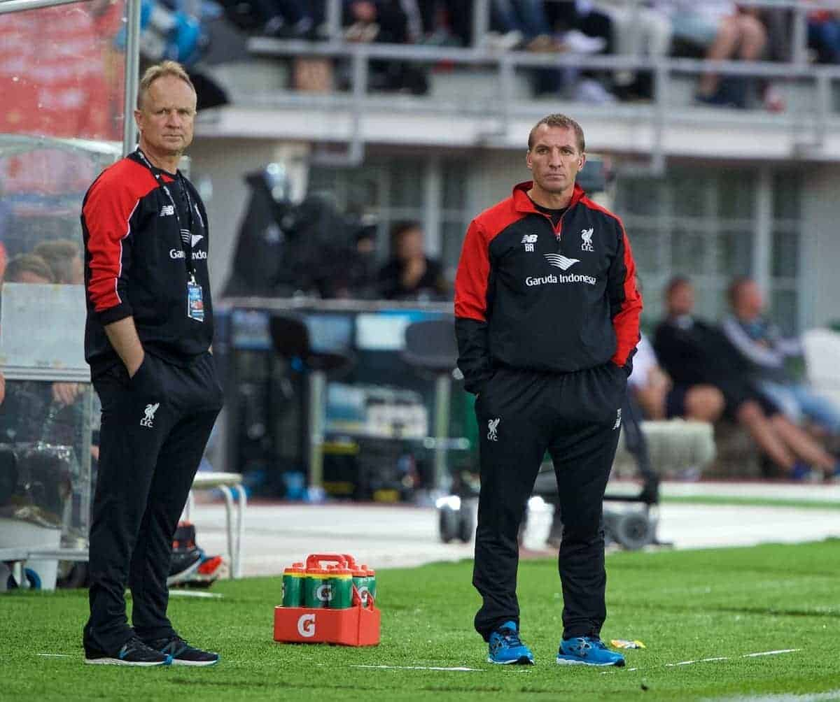 HELSINKI, FINLAND - Friday, July 31, 2015: Liverpool's manager Brendan Rodgers and assistant manager Sean O'Driscoll during a friendly match against HJK Helsinki at the Olympic Stadium. (Pic by David Rawcliffe/Propaganda)