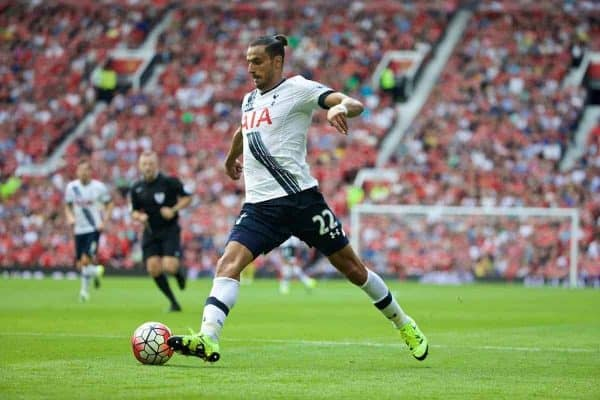 MANCHESTER, ENGLAND - Saturday, August 8, 2015: Tottenham Hotspur's Nacer Chadli in action against Manchester United during the Premier League match at Old Trafford. (Pic by David Rawcliffe/Propaganda)