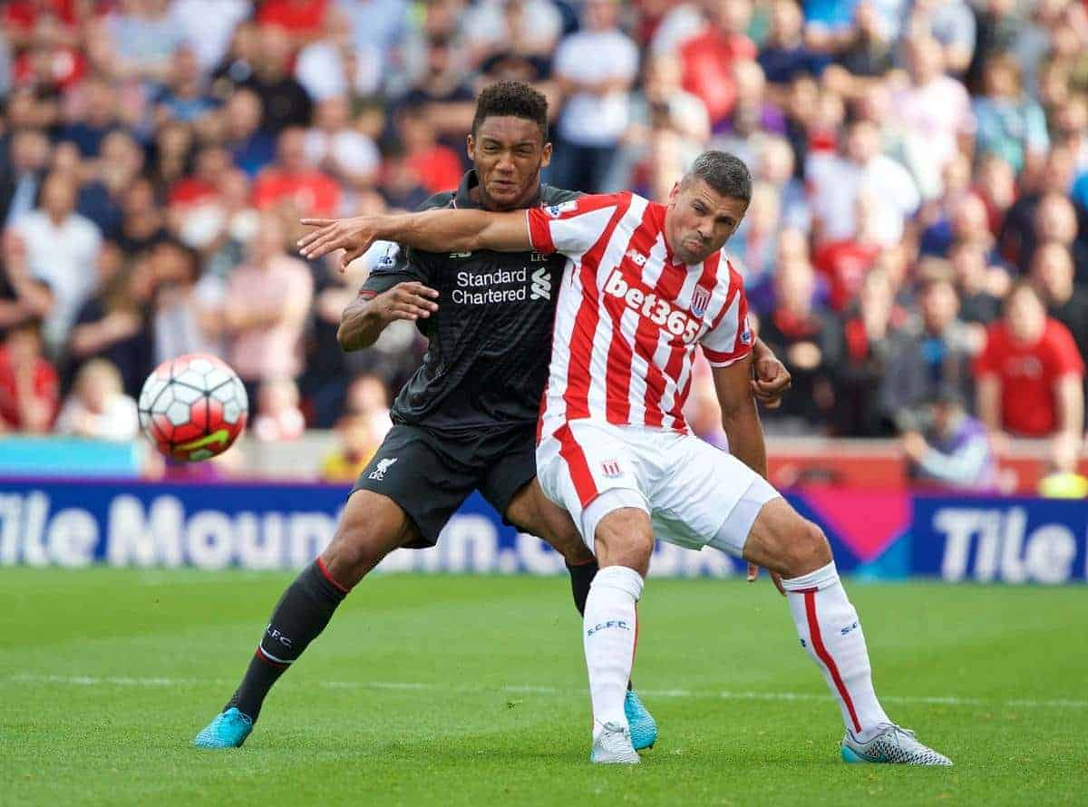 STOKE-ON-TRENT, ENGLAND - Sunday, August 9, 2015: Liverpool's Joe Gomez in action against Stoke City's Jonathan Walters during the Premier League match at the Britannia Stadium. (Pic by David Rawcliffe/Propaganda)