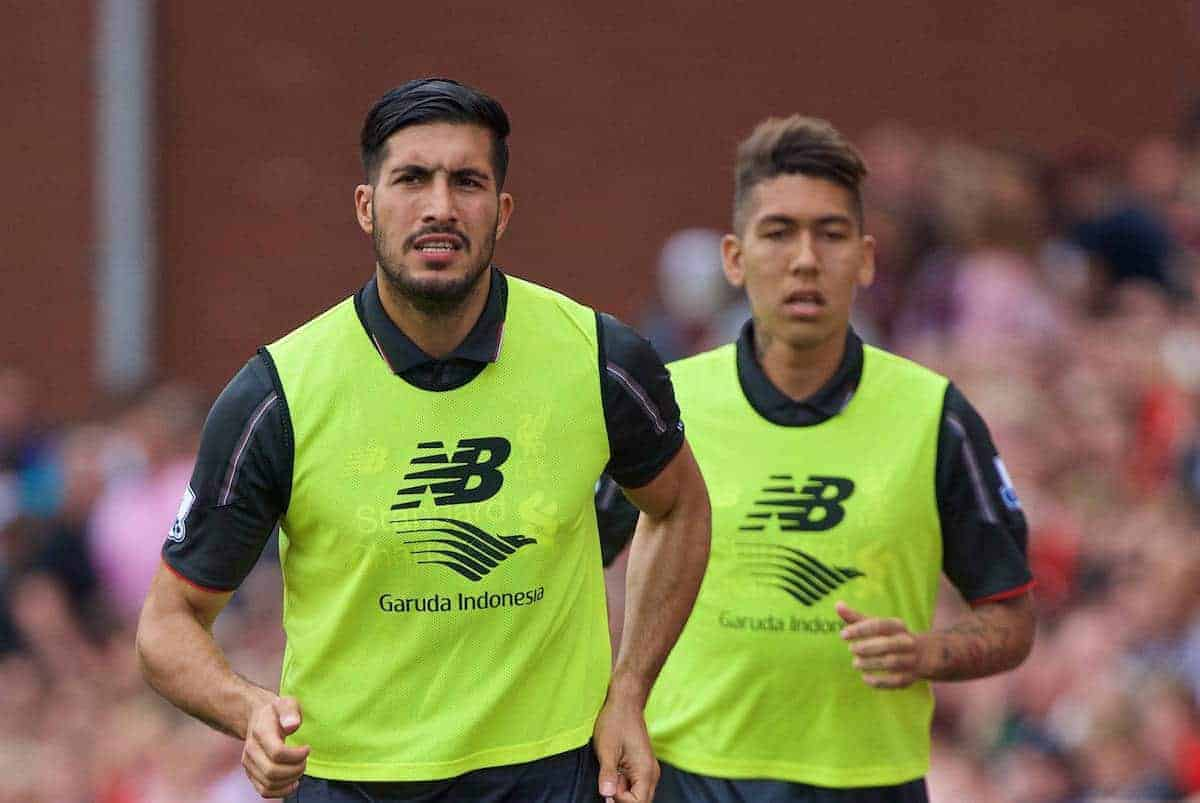 STOKE-ON-TRENT, ENGLAND - Sunday, August 9, 2015: Liverpool's substitutes Emre Can and Roberto Firmino warm-up before the Premier League match against Stoke City at the Britannia Stadium. (Pic by David Rawcliffe/Propaganda)