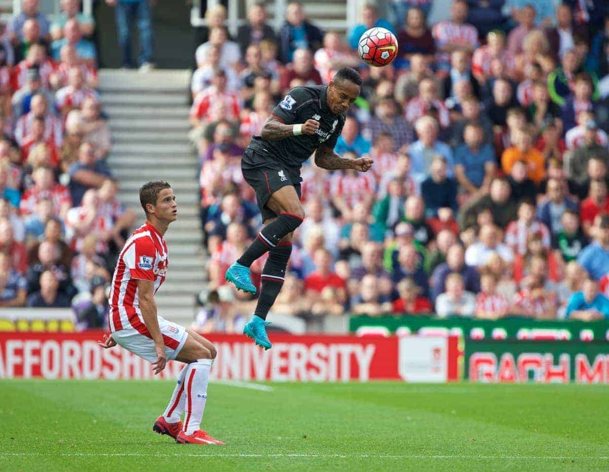STOKE-ON-TRENT, ENGLAND - Sunday, August 9, 2015: Liverpool's Nathaniel Clyne in action against Stoke City during the Premier League match at the Britannia Stadium. (Pic by David Rawcliffe/Propaganda)