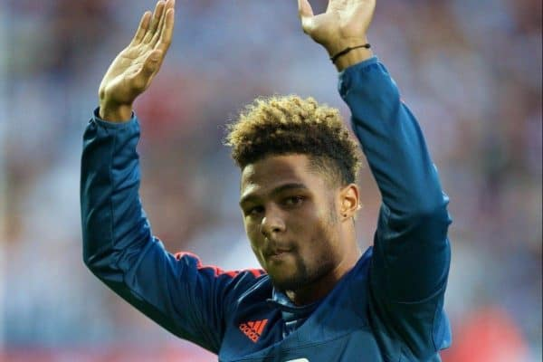 WEST BROMWICH, ENGLAND - Monday, August 10, 2015: West Bromwich Albion's loan signing Serge Gnabry before the Premier League match against Manchester City at the Hawthorns. (Pic by David Rawcliffe/Propaganda)