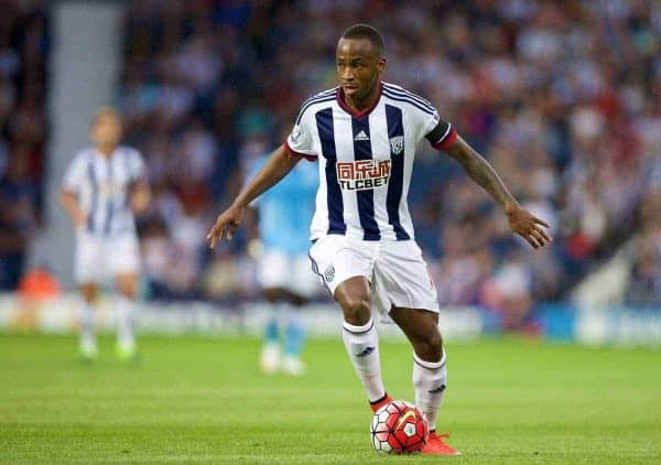 West Bromwich Albion's Saido Berahino in action against Manchester City during the Premier League match at the Hawthorns. (Pic by David Rawcliffe/Propaganda)