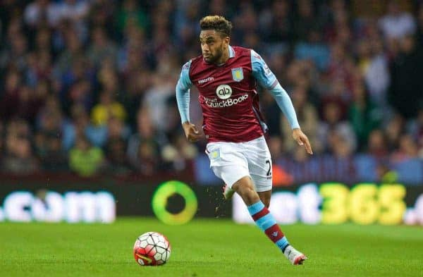 BIRMINGHAM, ENGLAND - Friday, August 14, 2015: Aston Villa's Jordan Amavi in action against Manchester United during the Premier League match at Villa Park. (Pic by David Rawcliffe/Propaganda)