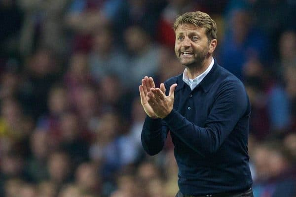 BIRMINGHAM, ENGLAND - Friday, August 14, 2015: Aston Villa's manager Tim Sherwood during the Premier League match against Manchester United at Villa Park. (Pic by David Rawcliffe/Propaganda)