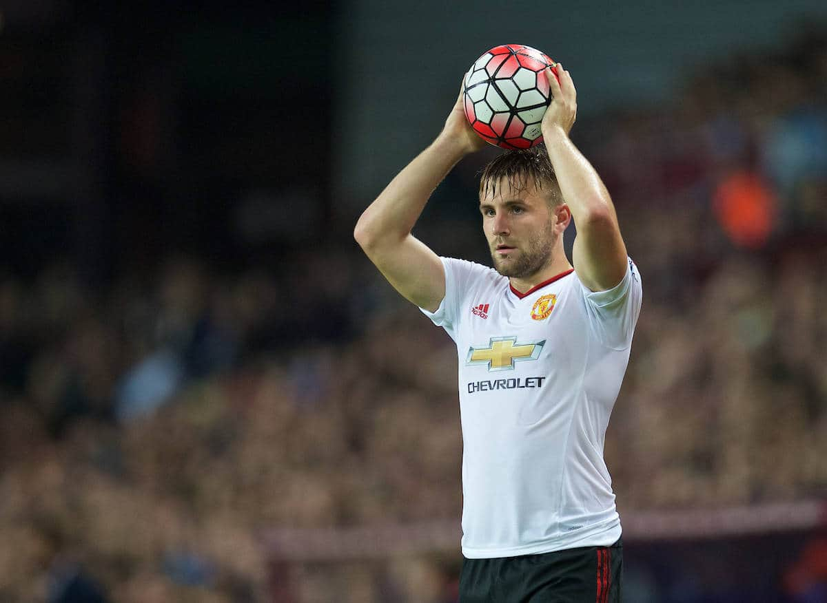 BIRMINGHAM, ENGLAND - Friday, August 14, 2015: Manchester United's Luke Shaw in action against Aston Villa during the Premier League match at Villa Park. (Pic by David Rawcliffe/Propaganda)