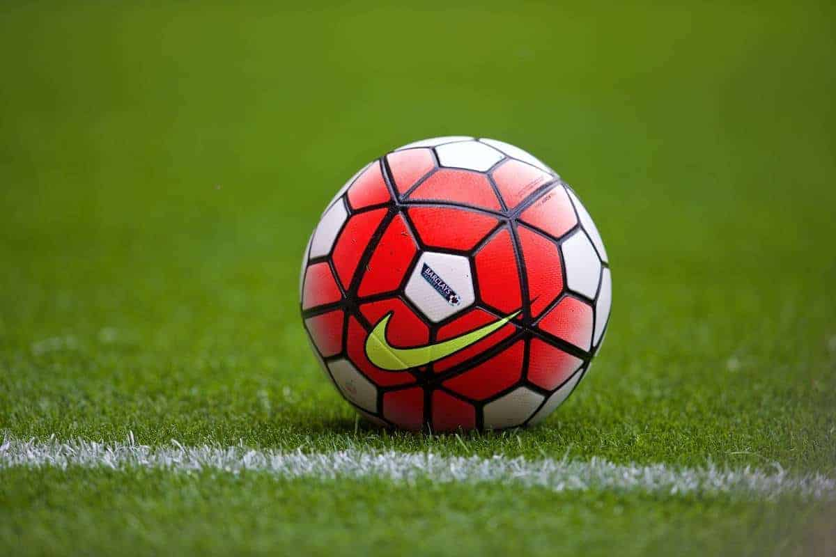 SOUTHAMPTON, ENGLAND - Saturday, August 15, 2015: A Nike match ball with Barclays sponsorship during the FA Premier League match at St Mary's Stadium. (Pic by David Rawcliffe/Propaganda)