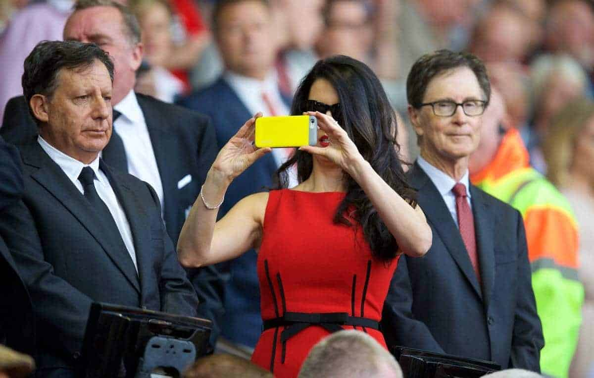 LIVERPOOL, ENGLAND - Monday, August 17, 2015: Linda Pizzuti, wife of Liverpool FC owner John W. Henry, takes a photo on her Apple iPhone before the Premier League match against AFC Bournemouth at Anfield. (Pic by David Rawcliffe/Propaganda)