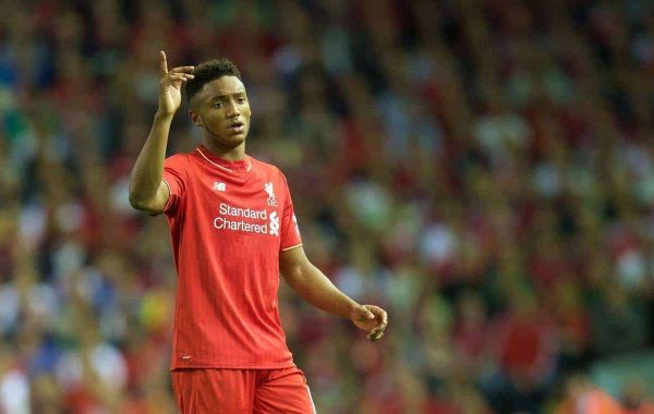 LIVERPOOL, ENGLAND - Monday, August 17, 2015: Liverpool's Joe Gomez in action against AFC Bournemouth during the Premier League match at Anfield. (Pic by David Rawcliffe/Propaganda)