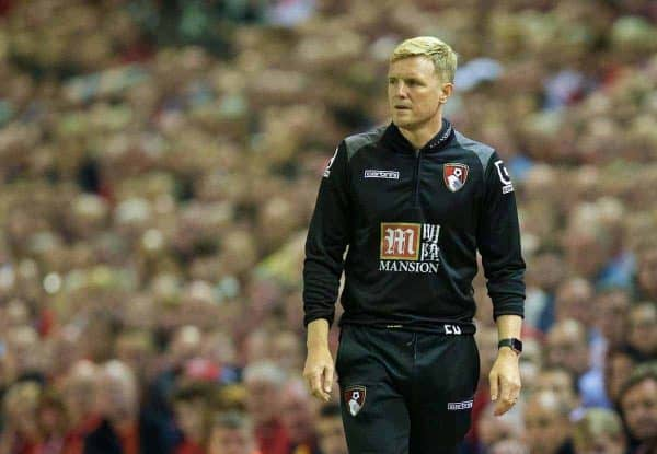 AFC Bournemouth's manager Eddie Howe during the Premier League match against Liverpool at Anfield. (Pic by David Rawcliffe/Propaganda)