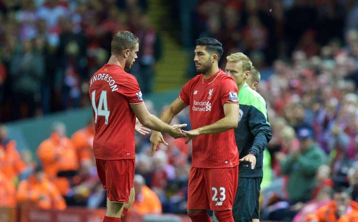 LIVERPOOL, ENGLAND - Monday, August 17, 2015: Liverpool's captain Jordan Henderson is substituted for Emre Can during the Premier League match against AFC Bournemouth at Anfield. (Pic by David Rawcliffe/Propaganda)