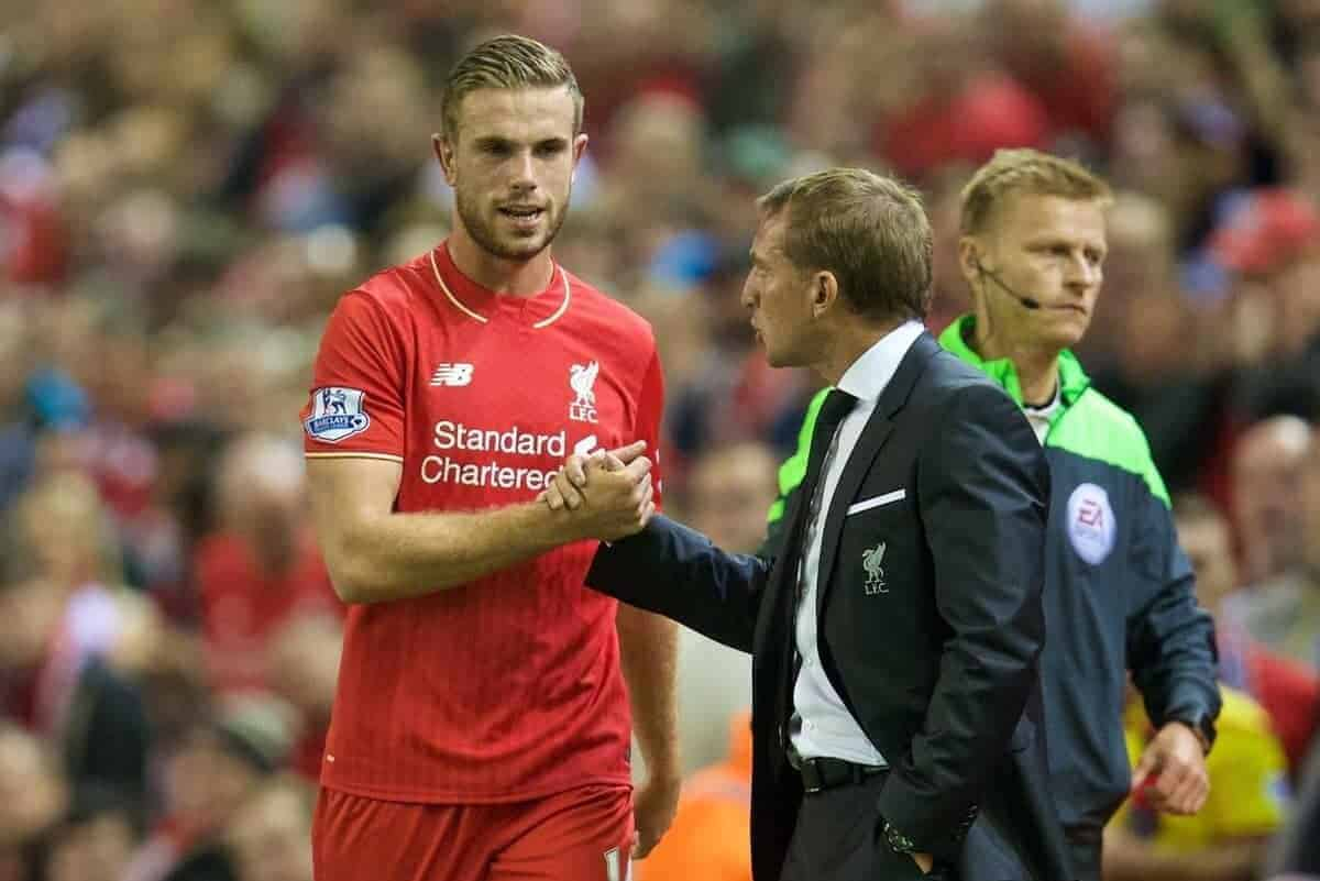 LIVERPOOL, ENGLAND - Monday, August 17, 2015: Liverpool's captain Jordan Henderson is substituted by manager Brendan Rodgers during the Premier League match against AFC Bournemouth at Anfield. (Pic by David Rawcliffe/Propaganda)