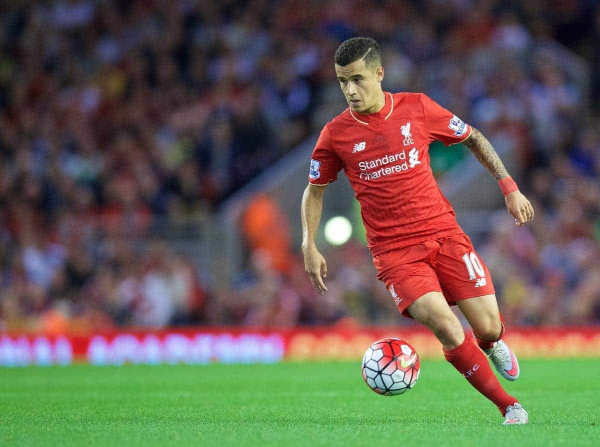 LIVERPOOL, ENGLAND - Monday, August 17, 2015: Liverpool's Philippe Coutinho Correia in action against AFC Bournemouth during the Premier League match at Anfield. (Pic by David Rawcliffe/Propaganda)