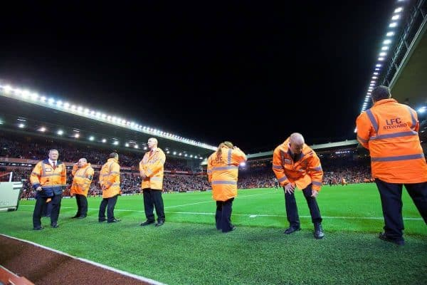LIVERPOOL, ENGLAND - Monday, August 17, 2015: Liverpool stewards block the photographer's view of the pitch after the Premier League match against AFC Bournemouth at Anfield. (Pic by David Rawcliffe/Propaganda)