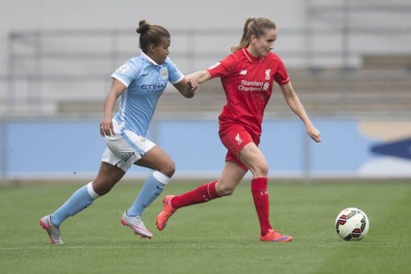 MANCHESTER, ENGLAND - Sunday, August 30, 2015: Manchester City's Nikita Parris and Liverpool's Lucy Staniforth during the FA Women's Super League match at the Manchester City Academy Stadium. (Pic by Paul Currie/Propaganda)