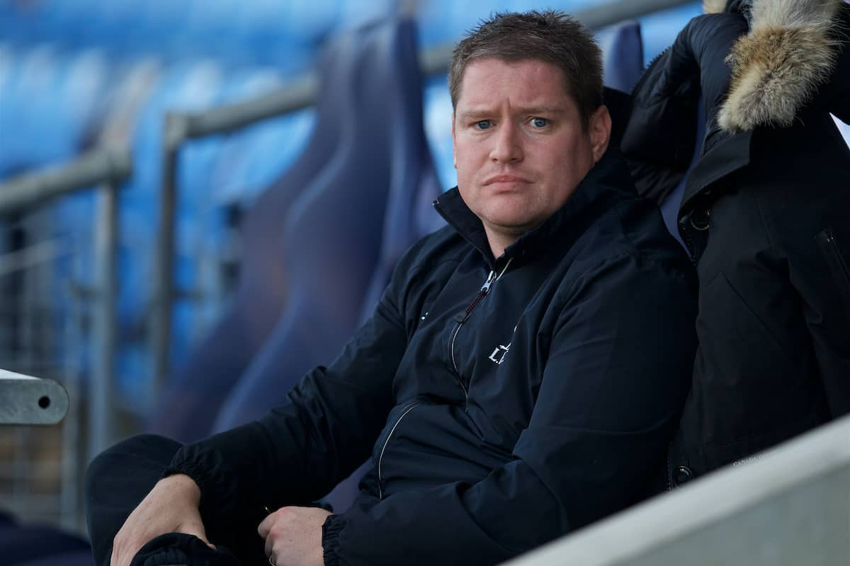 MANCHESTER, ENGLAND - Thursday, September 10, 2015: Liverpool Ladies manager Matt Beard before the FA Women's Super League match against Manchester City at the Academy Stadium. (Pic by David Rawcliffe/Propaganda)