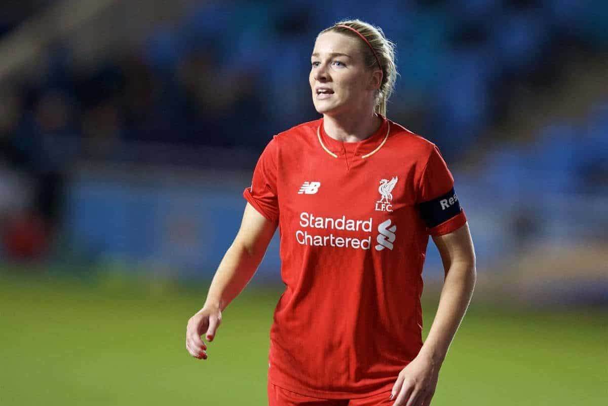 MANCHESTER, ENGLAND - Thursday, September 10, 2015: Liverpool Ladies' captain Gemma Bonner in action against Manchester City Women during the FA Women's Super League match at the Academy Stadium. (Pic by David Rawcliffe/Propaganda)