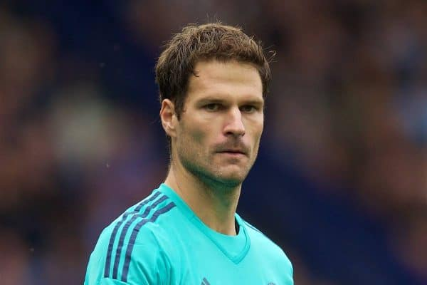 LIVERPOOL, ENGLAND - Saturday, September 12, 2015: Chelsea's goalkeeper Asmir Begovic in action against Everton during the Premier League match at Goodison Park. (Pic by David Rawcliffe/Propaganda)