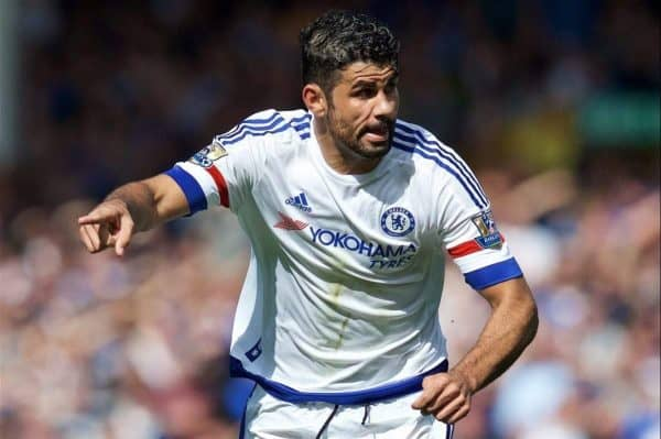 LIVERPOOL, ENGLAND - Saturday, September 12, 2015: Chelsea's Diego Costa in action against Everton during the Premier League match at Goodison Park. (Pic by David Rawcliffe/Propaganda)