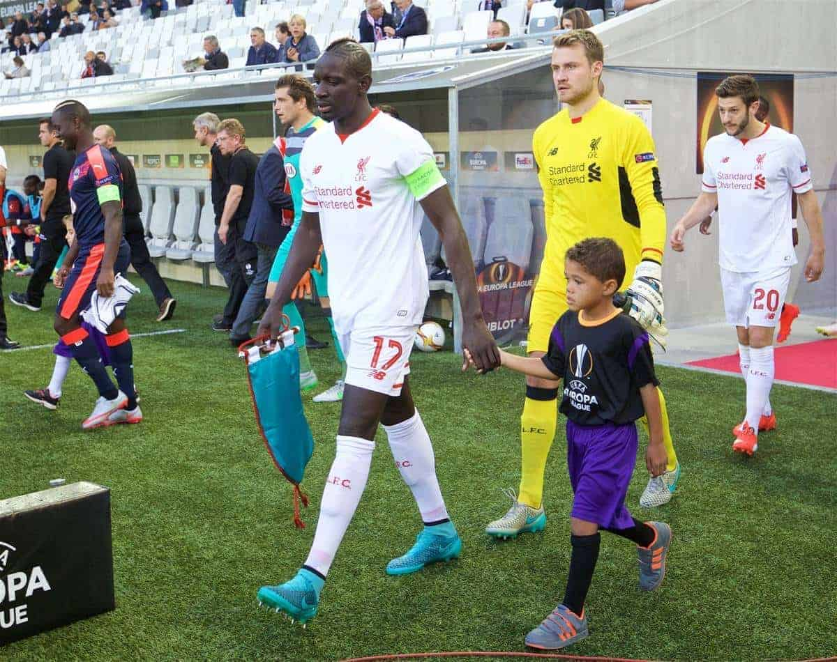 BORDEAUX, FRANCE - Thursday, September 17, 2015: Liverpool's captain Mamadou Sakho walks out to face FC Girondins de Bordeaux during the UEFA Europa League Group Stage Group B match at the Nouveau Stade de Bordeaux. (Pic by David Rawcliffe/Propaganda)