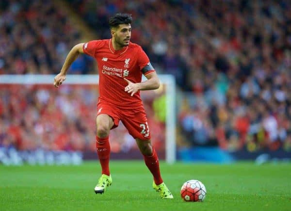 LIVERPOOL, ENGLAND - Sunday, September 20, 2015: Liverpool's Emre Can in action against Norwich City during the Premier League match at Anfield. (Pic by David Rawcliffe/Propaganda)