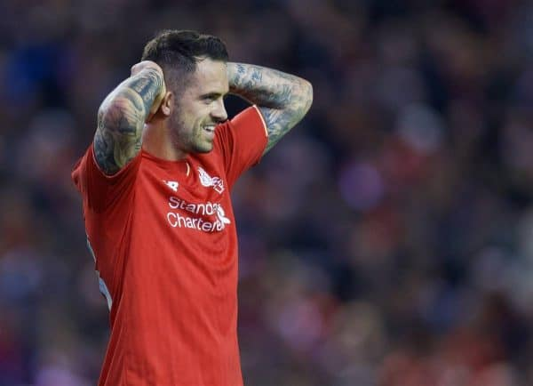 LIVERPOOL, ENGLAND - Wednesday, September 23, 2015: Liverpool's Danny Ings looks dejected during the Football League Cup 3rd Round match against Carlisle United at Anfield. (Pic by David Rawcliffe/Propaganda)