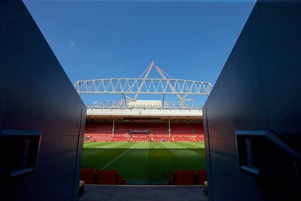 LIVERPOOL, ENGLAND - Saturday, September 26, 2015: A general view of the new Main Stand construction at Liverpool's Anfield stadium before the Premier League match against Aston Villa. (Pic by David Rawcliffe/Propaganda)