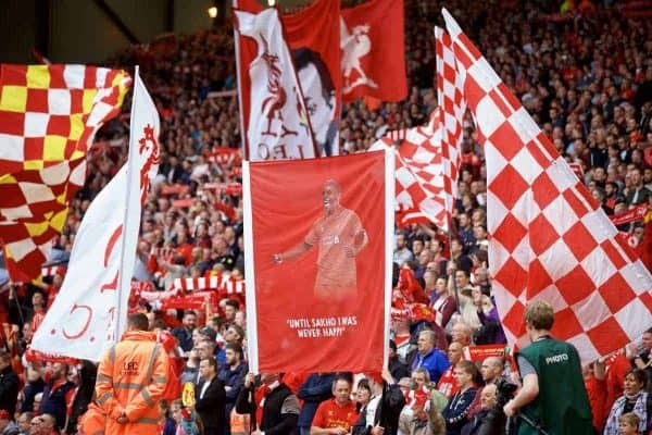 """LIVERPOOL, ENGLAND - Saturday, September 26, 2015: Liverpool supporters' banner """"Until Sakho I was never happy"""" during the Premier League match against Aston Villa at Anfield. (Pic by David Rawcliffe/Propaganda)"""