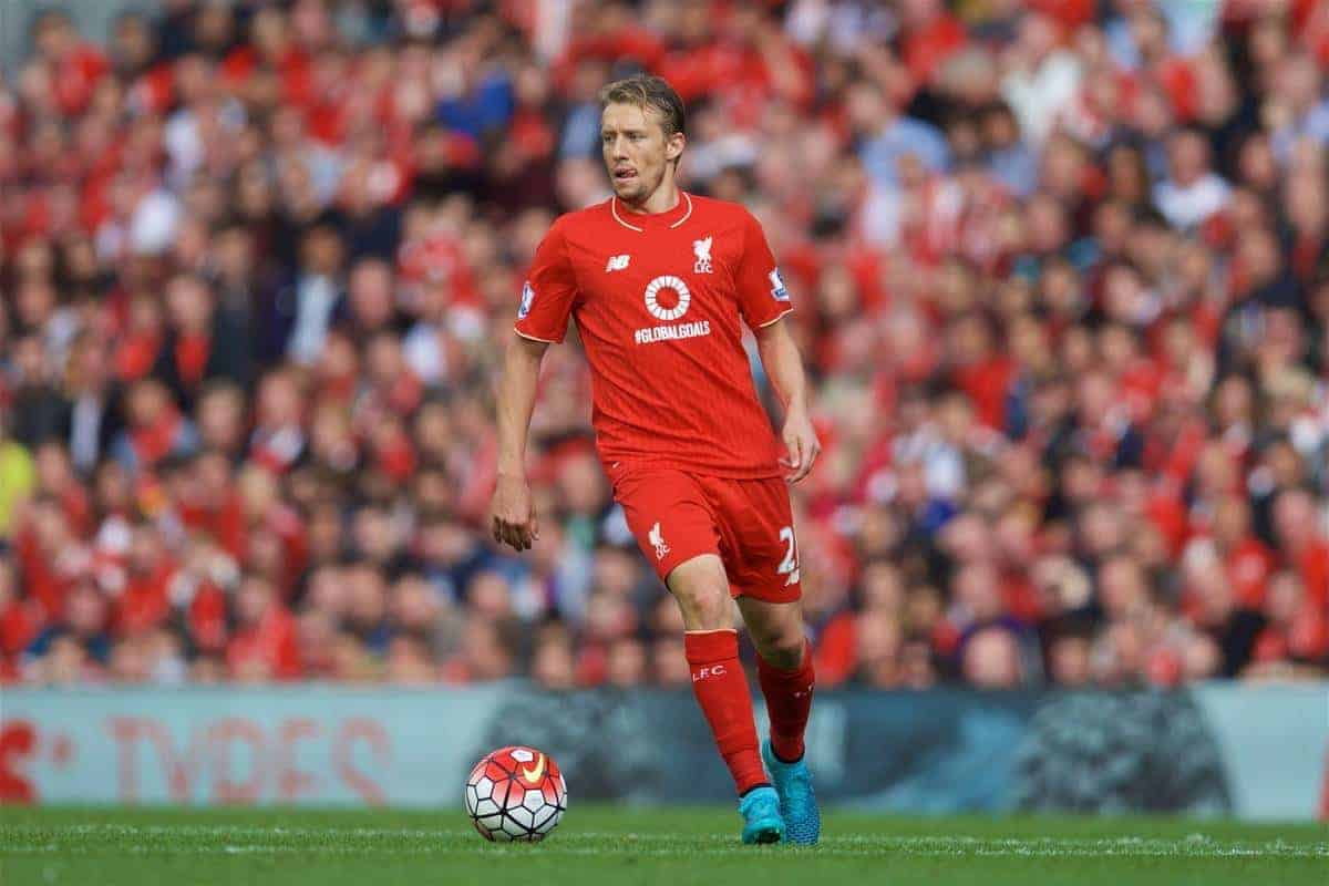 LIVERPOOL, ENGLAND - Saturday, September 26, 2015: Liverpool's Lucas Leiva in action against Aston Villa during the Premier League match at Anfield. (Pic by David Rawcliffe/Propaganda)