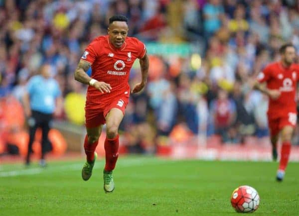 LIVERPOOL, ENGLAND - Saturday, September 26, 2015: Liverpool's Nathaniel Clyne in action against Aston Villa during the Premier League match at Anfield. (Pic by David Rawcliffe/Propaganda)